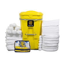 "65 Gallon Oil Only Spill Kit Plus Protection Kit, Pro Grade,150 PC: Wheeled Cart, 100 Heavy Duty Pads 15""x19"", 6 Socks 12', 7 Socks 4', 8 Pillows,Tyvek Suits,Boot Covers,Googles,Gloves,Bags & Sign"