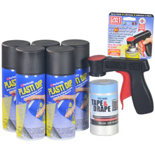 Contains 5 Cans Black Plasti Dip Aerosol Spray, 1 Cangun1, and 1 roll Tape & Drape