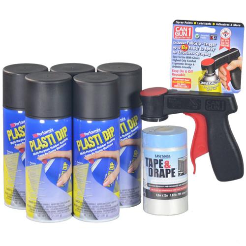 Contains 5 Cans Black Plasti Dip Aerosol Spray, 1 Cangun1, and 1 roll Tape & Drape