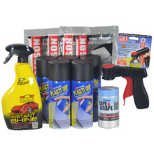 Contains 5 Cans Black Plasti Dip Aerosol Spray, 1 Cangun1, 4 Gerson Tek Cloths, 1 roll Tape & Drape and 1 bottle Simoniz Instant Shine