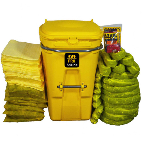 AWarehouseFull 65 Gallon Spill Kit complete with absorbents, goggles, gloves, guidebook and disposal bags.