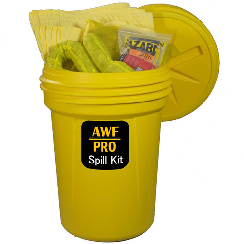 AWarehouseFull 30 Gallon Spill Kit complete with absorbents, goggles, gloves, guidebook and disposal bags.