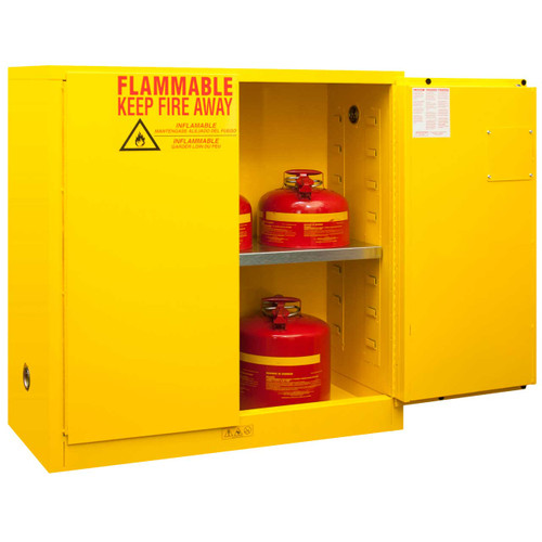30 Gal Flammable Storage Cabinet, Manual Close Doors, Durham 1030M ...