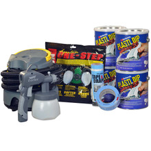 "Contains: 4 Gallons Plasti Dip Spray 50, Earlex Spray Station 3500, P95 Organic Vapor Respirator, 2"" Masking Tape, 4' Tape & Drape"