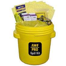 "AWF PRO 20 Gallon Battery Acid Spill Kit, 58 Pieces: 40 - Heavy Duty Pads, 3 - 3""x4' Socks, 3 Pillows, 2 - 2Qt AcidSafe Carton,  10 Accessories"
