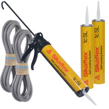 Our kit includes our AWF Pro Caulking Gun, 3-29 oz tubes of Sikaflex 1c SL and 2 lengths of Backer Rod
