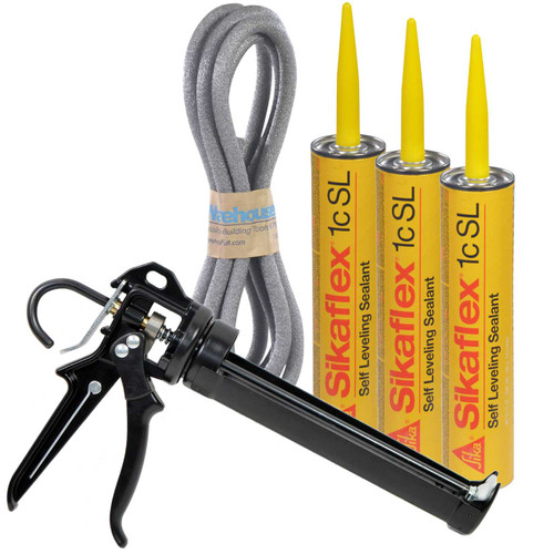 Our kit includes our AWF Pro Caulking Gun, 3-10.1 oz tubes of Sikaflex 1c SL and 1 length of Backer Rod