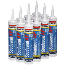 """Soudaseal AP All Purpose SMX Hybrid Polymer Sealant/Adhesive, 35% Movement Capability, 10.1 oz Tube, White, Case of 12"""