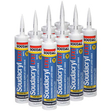 """Soudacryl LTX1 Premium Grade 50-Year Siliconized Acrylic Latex Caulk, 10.1 oz Tube, White, Case of 12"""
