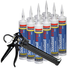 Soudasil RTV2, General Purpose, 100% RTV Silicone Sealant, Mildew Resistant, White, 12 Tubes with AWF Pro Caulking Gun