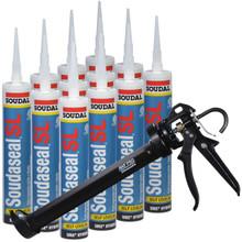 Soudaseal SL, 29 fl oz Cartridge, Self Leveling SMX Hybrid Polymer Sealant for Horizontal Joints, Limestone, 12 Tubes with AWF Pro Caulking Gun