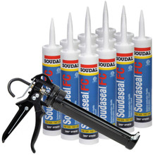 Soudaseal FC Fast Cure Sealant/Adhesive with Extreme High Initial Tack, 25% Movement, White, 12 Tubes with AWF Pro Caulking Gun