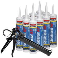 Soudal All Purpose Hybrid Polymer Sealant/Adhesive, 35% Movement, Solvent Free, Isocyanate Free, Low Odor, No Shrinkage, 10.1 oz, White, 12 Tubes with AWF Pro Caulking Gun