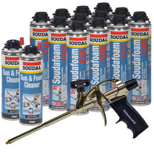Soudal Kit, 12 cans 24 oz Soudafoam Flex, AWF Pro Foam Gun, 2 Cleaners