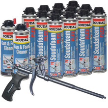 Soudal Kit, 12 cans 24 oz Soudafoam Flex, AWF Pro Teflon Coated Foam Gun, 2 Cleaners