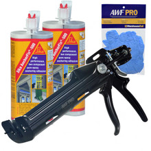Our Kit comes with our AWF Pro Epoxy Gun and 2 Tubes of Sika Anchorfix