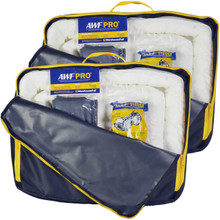 Portable Spill Kit 2 Pack Oil Only: Each Kit Contains 35 Pieces; 25 Sorbent Pads, 3 Sorbent Socks, 5 Disposal Bags,1 Pair of Goggles & Chemical Gloves. Packed in a Heavy Duty, Reusable Nylon Bag