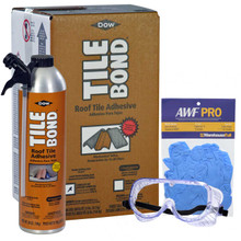 Dow Tile Bond Roof Tile Adhesive, Single Part Polyurethane, 23 lb Kit, 28 oz Can, Gloves, and Goggles