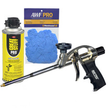 Professional Spray Foam Gun with Teflon Coated Adapter Basket, with Gun Cleaner and Nitrile Gloves