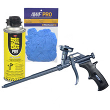 Teflon Coated Professional Spray Foam Gun, Bonus Gun Cleaner and Nitrile Gloves