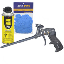 Teflon Coated Professional Foam Gun, One Hand Adjustment, with Gun Cleaner and Nitrile Gloves