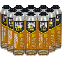Dow Great Stuff Pro, Wall & Floor, 26.5oz Pro Can, Full Case (12 Cans)