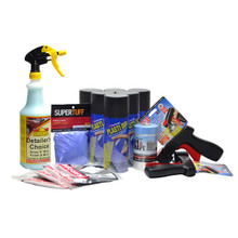 Contents: 6 Cans Plasti Dip Aerosol Spray, 2 Cangun1's, Nitrile Gloves, 4 Tek Cloths, Detailers Choice Cleaner, Tape & Drape