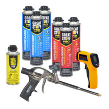 Contents: Pro Foam Gun, 3-24 oz Cans Gaps & Cracks, 3-20 oz Cans Window & Door, 1 Can Cleaner, 1 IR Thermometer