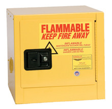 2 Gallon Flammable Liquid Safety Cabinet, Self Close Door, Yellow, Eagle 1900