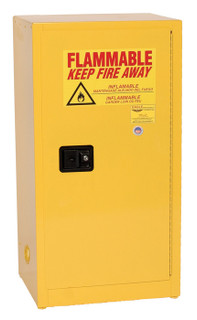 16 Gallon Flammable Liquid Safety Cabinet, Self Close Door, Yellow, Eagle 1905