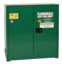 30 Gallon Pesticide Safety Cabinet, Self Close Doors, Green, Eagle PEST3010