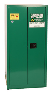 60 Gallon Pesticide Safety Cabinet, Vertical Drum, Self Close Doors, Green, Eagle PEST2610
