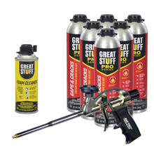 Great Stuff PRO Kit, 6-30oz Gaps & Cracks Fireblock, Foam Gun, Cleaner