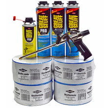 Contents: Pro Foam Gun, 3-20 oz Cans Window & Door, 1 Can Cleaner, 4 Rolls Flashing