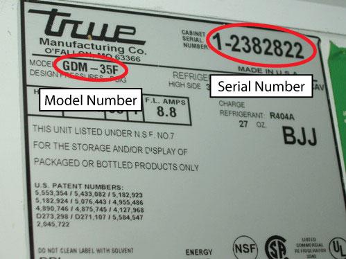 Model/Serial Number Location - Refrigeration Gaskets Made
