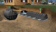 Baffled septic tank with infiltration tunnel, easy transport, small or large volumes 4 different size tanks available All possible scenarios can be covered.