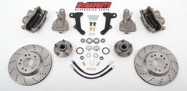 "McGaughys Oldsmobile F-85 1964-1972 13"" Front Cross Drilled Disc Brake Kit & 2"" Drop Spindles; 5x4.75 Bolt Pattern - Part# 63236"