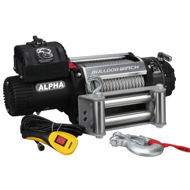 12500lb Alpha Series Winch, 90ft Wire Rope W/ Roller Fairlead Bulldog Winch- 10027