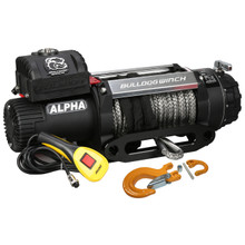 12500lb Alpha Series Winch, 100ft Synthetic Rope W/ Roller Fairlead Bulldog Winch- 10028