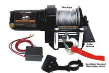 2000lb ATV Winch with Mini-Rocker Switch, Mounting Channel, Roller Fairlead  Bulldog Winch- 15001