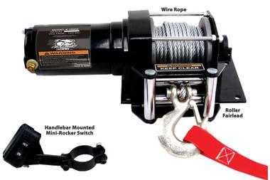 3000lb ATV Winch with Mini-Rocker Switch, Mounting Channel, Roller Fairlead  Bulldog Winch- 15002