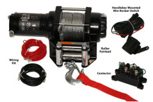 2500lb ATV Winch, with Mini-Rocker Switch, Mounting Channel, Roller Fairlead  Bulldog Winch- 15006