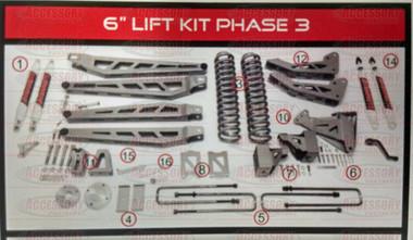 "2008-2010 Ford F250 4wd 6"" Phase III Lift Kit W/ Shocks - McGaughys 57243"