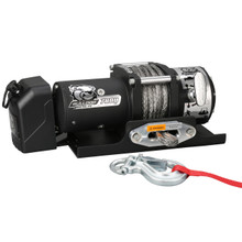 7800lb Trailer Winch, 50' Synth Rope, Roller Frld, Mnt Plate, Low Profile Bulldog Winch - 10032