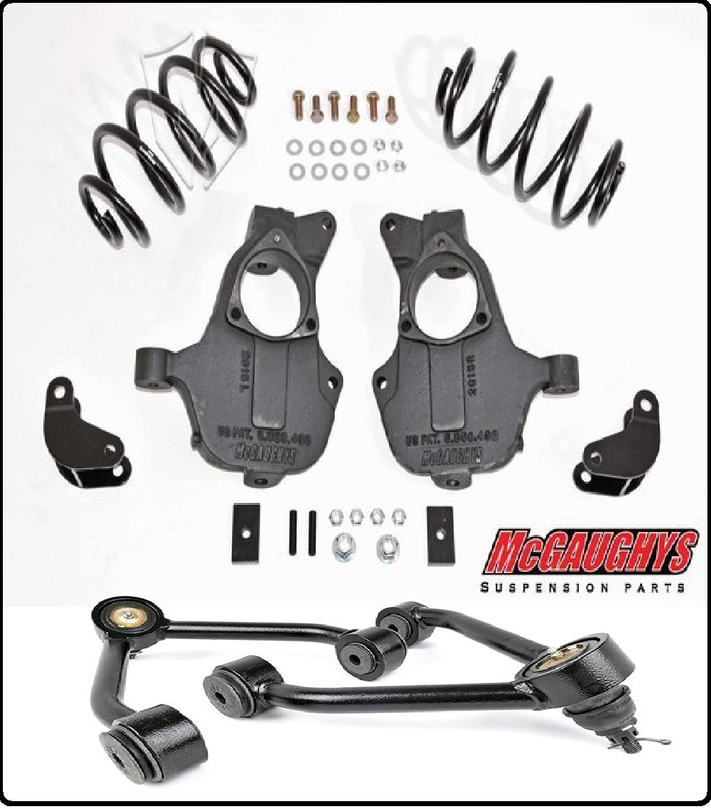 McGaughys Economy 1 or 2 Adjustable Strut Ring Front Lowering Kit 1//2 Ton Truck ALL Cabs 34061