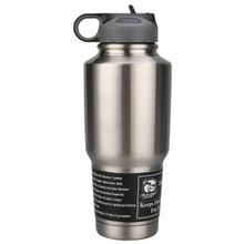 30oz 304 Stainless Tumbler- Double Wall With Screw-On Flip-Up Straw Lid - Bulldog Winch 80052
