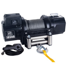 18500lb Heavy-duty Steel Winch w/ Roller Fairlead and Synthetic Rope - Bulldog Winch 10060