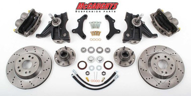 "1963-1970 Chevrolet C-10 13"" Front Cross Drilled Disc Brake Kit & 2.5"" Drop Spindles; 5x4.75 Bolt Pattern - McGaughys 63150"