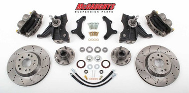 "1963-1970 Chevrolet C-10 13"" Front Cross Drilled Disc Brake Kit & 2.5"" Drop Spindles; 5x5 Bolt Pattern - McGaughys 63148"