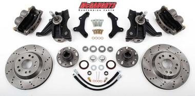 "1973-1987 Chevrolet C-10 Front 13"" Cross Drilled Disc Brake Kit W/Drop Spindles; 5x5 Bolt Pattern - McGaughys 33157"
